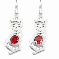 925 sterling silver 2.36cts natural red garnet two cats earrings jewelry p60751