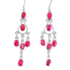 925 sterling silver 12.36cts natural red ruby dangle earrings jewelry p60588