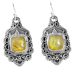 925 sterling silver 6.89cts natural tourmaline rutile dangle earrings p52749