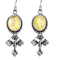 925 sterling silver 8.43cts natural tourmaline rutile holy cross earrings p54995