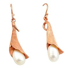 925 sterling silver 9.37cts natural white pearl 14k rose gold earrings c4670