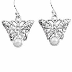 925 sterling silver 2.00cts natural white pearl butterfly earrings p84890