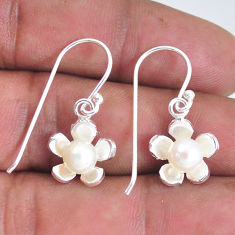 925 sterling silver 2.09cts natural white pearl dangle earrings jewelry c2871