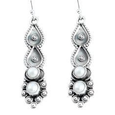 Clearance Sale- 925 sterling silver 2.55cts natural white pearl dangle earrings jewelry d31610