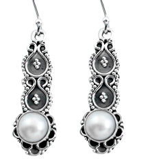 Clearance Sale- 925 sterling silver 4.28cts natural white pearl dangle earrings jewelry d31638