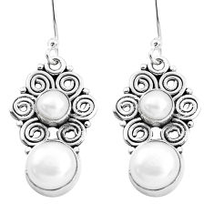 925 sterling silver 8.92cts natural white pearl dangle earrings jewelry p41284