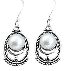 925 sterling silver 6.39cts natural white pearl dangle earrings jewelry p58156