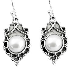 925 sterling silver 7.97cts natural white pearl dangle earrings jewelry p58293