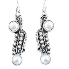 925 sterling silver 4.92cts natural white pearl dangle earrings jewelry p59964