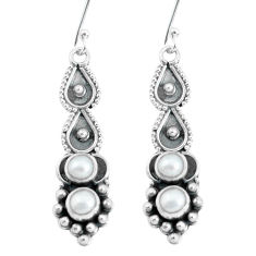925 sterling silver 2.81cts natural white pearl dangle earrings jewelry p60131