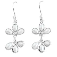 925 sterling silver 10.70cts natural white pearl dangle earrings jewelry p60604