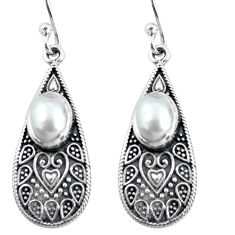 925 sterling silver 4.02cts natural white pearl dangle earrings jewelry p63957