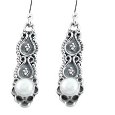 925 sterling silver 1.61cts natural white pearl dangle earrings jewelry p64056