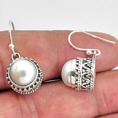 925 sterling silver 9.65cts natural white pearl dangle earrings jewelry p89827