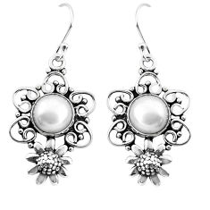 925 sterling silver 11.22cts natural white pearl flower earrings jewelry p51975