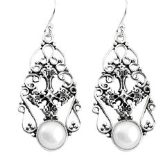 925 sterling silver 7.23cts natural white pearl holy cross earrings p58352