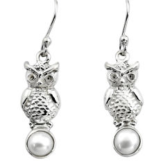 925 sterling silver 2.09cts natural white pearl owl earrings jewelry p84930