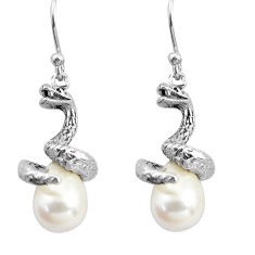 925 sterling silver 12.34cts natural white pearl snake earrings jewelry p84852