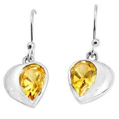 925 sterling silver 4.53cts natural yellow citrine dangle earrings p36735
