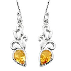 925 sterling silver 3.91cts natural yellow citrine dangle earrings p36859