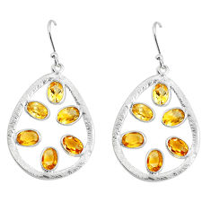 925 sterling silver 8.56cts natural yellow citrine dangle earrings p43787