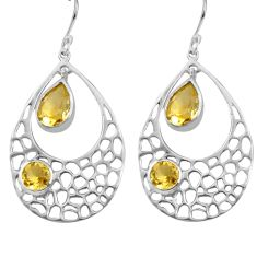 925 sterling silver 7.07cts natural yellow citrine dangle earrings p82130