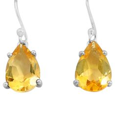 925 sterling silver 7.55cts natural yellow citrine dangle earrings p82144