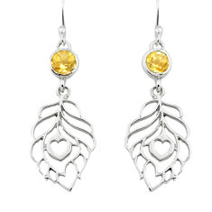 925 sterling silver 1.91cts natural yellow citrine feather earrings p73660
