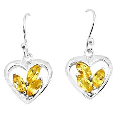 925 sterling silver 4.08cts natural yellow citrine heart love earrings p36767