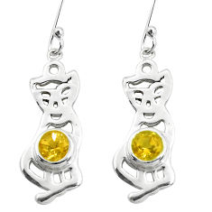 925 sterling silver 2.41cts natural yellow citrine two cats earrings p60757
