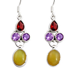 925 sterling silver 12.34cts natural yellow opal garnet dangle earrings d32356