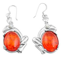 925 sterling silver 16.24cts orange amber pearl frog earrings jewelry c4514