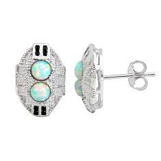 925 sterling silver 1.53cts pink australian opal (lab) topaz earrings c2504