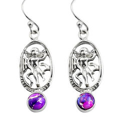 925 sterling silver 1.91cts purple copper turquoise angel earrings p84952