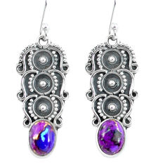 925 sterling silver 4.69cts purple copper turquoise dangle earrings p59958