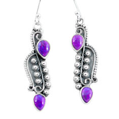 925 sterling silver 4.08cts purple copper turquoise dangle earrings p59974