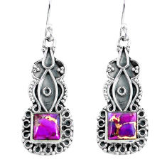 925 sterling silver 4.43cts purple copper turquoise dangle earrings p59990