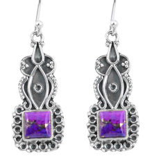 925 sterling silver 4.42cts purple copper turquoise dangle earrings p59994
