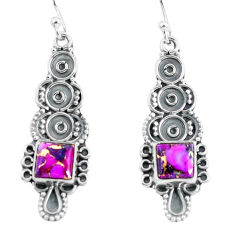 925 sterling silver 4.84cts purple copper turquoise dangle earrings p60014