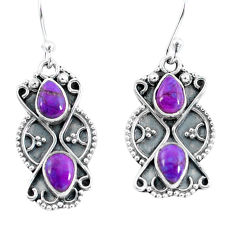 925 sterling silver 4.08cts purple copper turquoise dangle earrings p60036