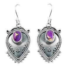 925 sterling silver 3.52cts purple copper turquoise dangle earrings p60095