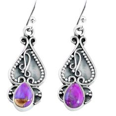 925 sterling silver 2.96cts purple copper turquoise dangle earrings p60177