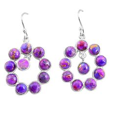 925 sterling silver 13.63cts purple copper turquoise dangle earrings p78395