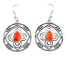 925 sterling silver 3.58cts red copper turquoise dangle earrings jewelry p64832