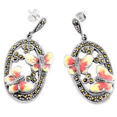 925 sterling silver 11.48gms swiss marcasite enamel earrings jewelry c4509