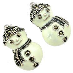 925 sterling silver white enamel marcasite snowman stud earrings jewelry h55711