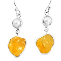 925 sterling silver 14.72cts yellow citrine rough pearl dangle earrings p51815