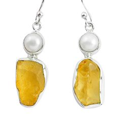 925 sterling silver 14.72cts yellow citrine rough pearl dangle earrings p51878