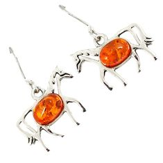 Authentic orange amber 925 sterling silver horse earrings jewelry a23317