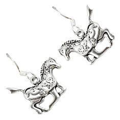 3.27gms 925 sterling silver filigree horse dangle earrings jewelry a23365